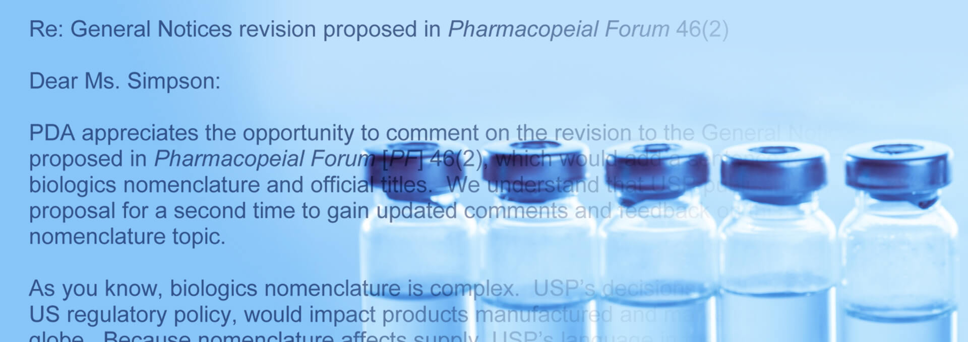 PDA Requests Pause to USP's Biologics Nomenclature Proposal