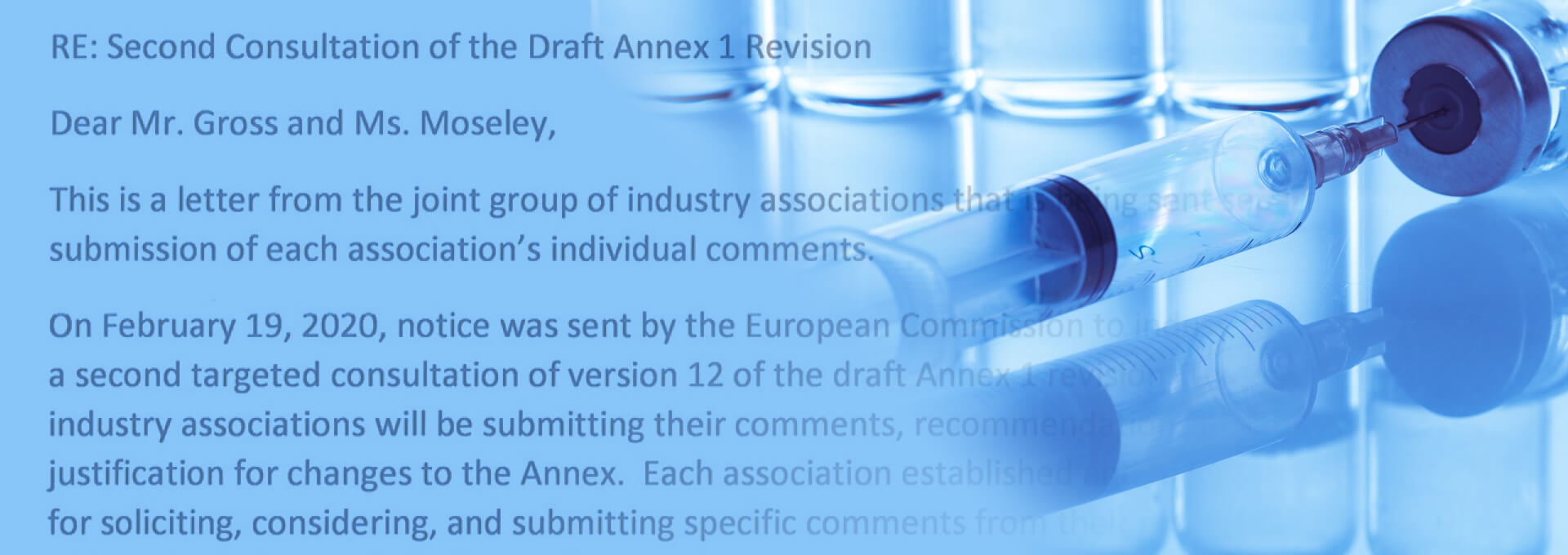 Joint Associations' Response Letter on EU Annex 1 Draft