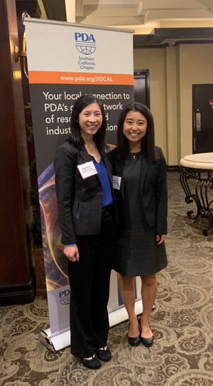 Stephanie Lee (left) the '21 Student Chapter President and Masami Amakawa (right) '20 Student Chapter President at the 2020 SoCal Vendor Event prior to the pandemic.